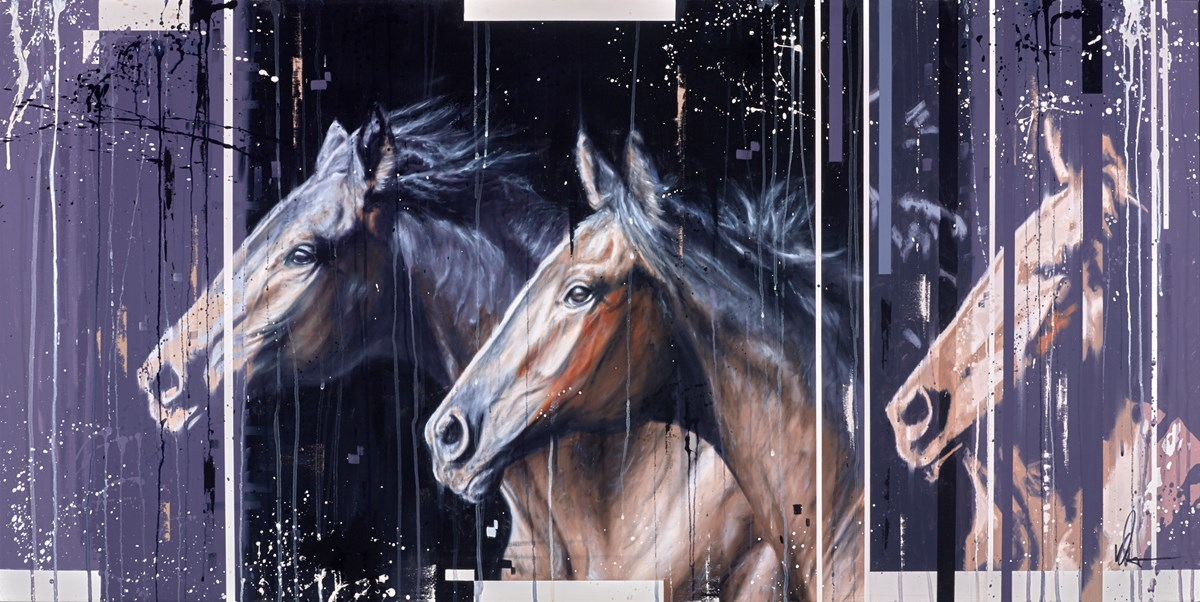 Two Horses II by kris hardy -  sized 56x28 inches. Available from Whitewall Galleries